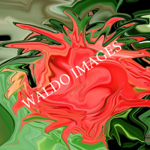 Een bloedend hart in een abstract kunstwerk.